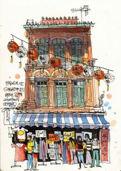 A shophouse in Chinatown, sketched from a cafe table. I ran out of water for my watercolors, and had to finish the painting with beer...seemed to work fine. JAMES RICHARDS