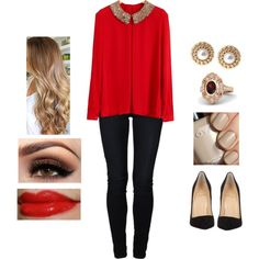Classy Red Blouse by teodoramaria98 on Polyvore featuring even&odd, Christian Louboutin, Gemvara, Ziba, Estée Lauder and Zoya