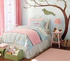 Perfect color scheme for transition to our guest room already painted this color. Birdie theme!