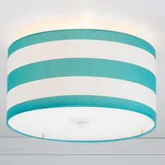 Deck Stripe Drum Shade Flush Mount Ceiling Light in Turquoise, navy, black or yellow and white stripes!