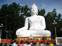 Giant White Buddha Wat Thep Phitak Punnaram in Muak Lek, Amphoe Pakchong, Changwat Nakhon Ratchasima, Thailand  As I a child I had several dreams of this exact Buddha. It is my goal to see it in person now that my memory is clear....
