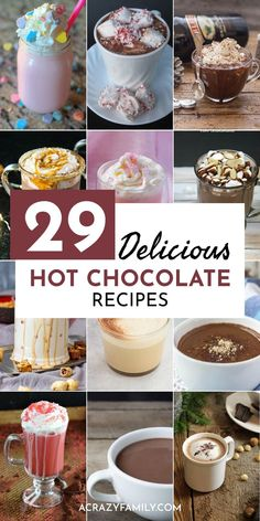 29 Delicious Hot Chocolate Recipes - - 29 of the best hot chocolate recipes. Hot chocolate mix recipes that are beyond amazing! These simple cocoa recipes will be a hit with everyone! Gourmet Hot Chocolate Recipe, Best Hot Chocolate Recipes, Healthy Hot Chocolate, Hot Chocolate Gifts, Crockpot Hot Chocolate, Frozen Hot Chocolate, Cocoa Recipes, Mexican Hot Chocolate, Homemade Hot Chocolate