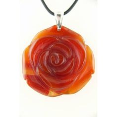 Carnelian Agate Orange Flower Stone Pendant Rubber Cord Necklace 18 Inch Pendants by Joyful Creations. $18.99. Ready to wear, rubber cord included. Sterling silver findings imported from Italy. Solid carnelian agate stone pendant is carved with a three dimensional flower design