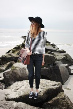 stripes & kids, comfy, casual, spring, black jeans, stripes, satchel, fashion
