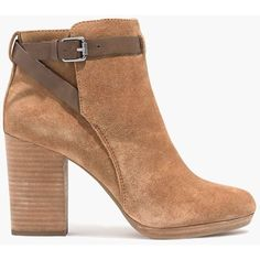 MADEWELL The Aimee Ankle Boot ($100) ❤ liked on Polyvore featuring shoes, boots, ankle booties, ankle boots, high heel ankle boots, faux suede booties, faux suede boots, suede boots and platform bootie