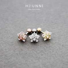 16g Crystal wire frame star ear cartilage stud earring, tragus lobe conch helix piercing barbell / 316l surgical steel / single earring by HiUnni on Etsy (null)