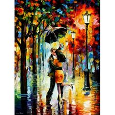 DANCE UNDER  THE RAIN -  Original Recreation Oil Painting On Canvas By Leonid Afremov