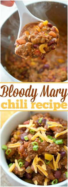 This easy bloody mary chili recipe is thick and packed with flavor! If you love this classic drink or just love chili you've got to try this hearty meal. via @thetypicalmom