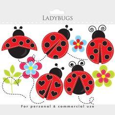 Ladybug clipart - stitched ladybugs clip art, lady bugs, c