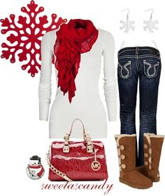 Christmas casual. This is a cute outfit for opening presents! Love the Ugg boots
