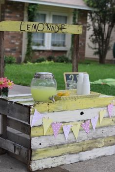 Lemonade stand out of old distressed pallets. Do a faux stand on tack side of a few stalls or at main entry stall only. Flat against stall. Pendant banner could be burlap. Bench across from it against other stall. Just an idea. Trying out everything here. lol