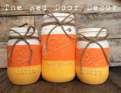Items similar to Halloween Candy Corn Rustic Chalk Painted Fall Mason Jars on Etsy <br> Fall Crafts, Halloween Crafts, Halloween Candy, Twig Crafts, Pumpkin Crafts, Thanksgiving Crafts, Holiday Crafts, Happy Halloween, Halloween Costumes