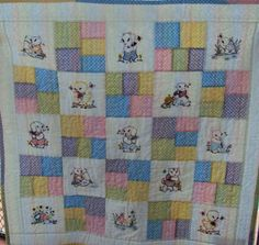 Another cute baby quilt that uses machine embroidery.  Designs by emblibrary.com.