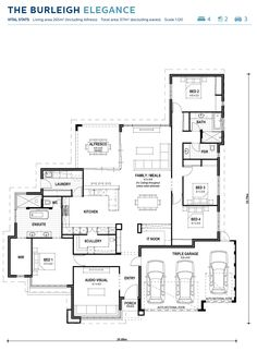 Here's a floor plan that has it all! Triple car garage, massive master suite with bath, IT nook, a media room and a huge kitchen with scullery. Every room in this house has good proportions. Plan Hotel, Hotel Floor Plan, Floor Plan 4 Bedroom, Bathroom Floor Plans, Kitchen Floor Plans, Master Suite Floor Plan, Farmhouse Floor Plans, Cottage Floor Plans, New House Plans