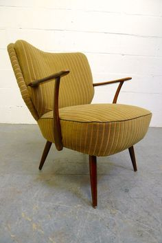 Vintage Danish Yellow Green Striped Velvet Cocktail Armchair Retro Chair 1950s in Antiques, Antique Furniture, Chairs | eBay