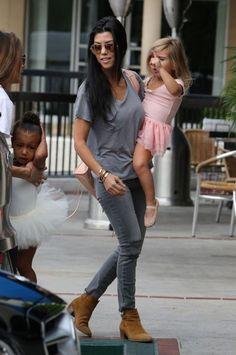 Kourtney Kardashian in her J BRAND Photo Ready Cropped Skinny in Chrome Mercy.