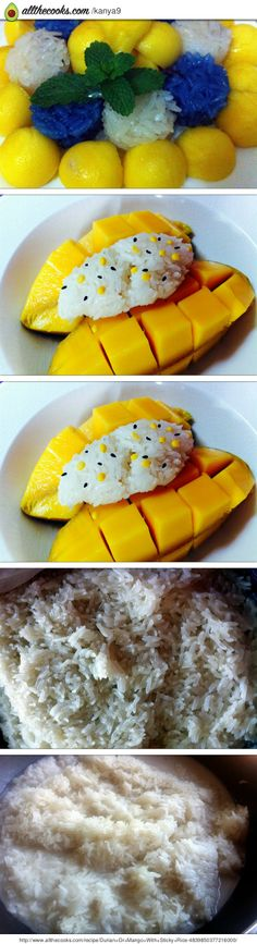 """Durian Or Mango With Sticky Rice! 5.00 stars, 2 reviews. """"Both are my favorite :)"""" @allthecooks #recipe #dessert #rice #fruit #healthy"""