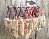 recycled coffee sack bag - i have a burlap rice bag that looks similar...  hmm...
