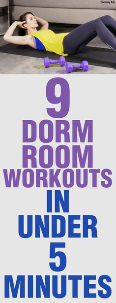 Dorm Workouts in Under 5 Minutes Studying doesn't have to make you neglect your health! Here are 9 Dorm Room Workouts in Under 5 Minutes!Studying doesn't have to make you neglect your health! Here are 9 Dorm Room Workouts in Under 5 Minutes! Dorm Room Workout, College Workout, College Fitness, College Life, Dorm Life, Easy Workouts, At Home Workouts, Beginner Workouts, Exercise Workouts
