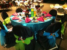 """Table decorating for 1980's era... for gala, """"A Moment in Time"""""""