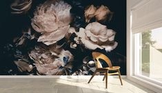 Dark Floral Mural Vintage Floral Wallpaper Peel and Stick Repositionable Wedding Removable Self Adhesive Dramatic Floral Wallpaper - Hand Painted Wallpaper, Watercolor Wallpaper, Self Adhesive Wallpaper, Fabric Wallpaper, Peel And Stick Wallpaper, Wall Wallpaper, Watercolor Peony, Geometric Wallpaper, Photo Wallpaper