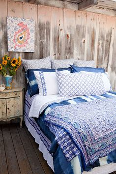 Kerry Cassill - Luxury Indian printed Bedding and Apparel — Blue Dip Dye Duvet
