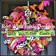Deco Mesh Halloween Witch Wreath: Witch Way to the Costume clothes stuffs Halloween Witch Wreath, Halloween Trees, Holidays Halloween, Halloween Crafts, Halloween Decorations, Haunted Halloween, Halloween Stuff, Holiday Wreaths, Holiday Crafts