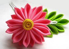 DIY ribbon flower hair accessory