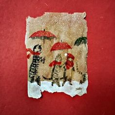 52 Weeks of Merry, Meowy Christmas! (watercolor, gouache, photo transfer on used tea bag) Tea Bag Art, Tea Art, Gouache, Used Tea Bags, Foto Transfer, Christmas Mix, Artist Trading Cards, Love Art, Altered Art