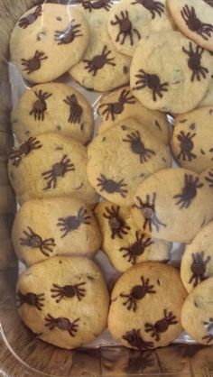 Chocolate chip spider cookies Halloween Goodies, Halloween Desserts, Halloween Night, Holidays Halloween, Halloween Treats, Halloween Party, Holiday Crafts For Kids, Holiday Fun, Porche Halloween