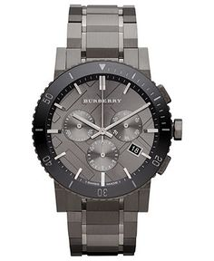 Burberry Watch, Swiss Chronograph Gray Ion Plated Stainless Steel Bracelet 42mm BU9381 - Burberry - Jewelry & Watches - Macy's