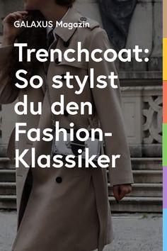 Es gibt Designklassiker, die nie aus der Mode kommen. Heute: der Trenchcoat. Der zweireihige Regenmantel wurde Ende des 19. Jahrhunderts für die britische Armee entworfen. Dank diverser Hollywood-Streifen schaffte es der Trenchcoat vom Schützengraben auf die Laufstege. Mittlerweile ist er zu einem Modeklassiker avanciert, der in keinem Schrank fehlen darf. Falls du noch keinen besitzt, legst du dir am besten ein mittellanges Modell in einer zeitlosen Farbe wie Beige, Schwarz oder Navy zu. Hollywood, Couture, Lifestyle, Fashion, Catwalks, British Army, Athletic Outfits, Trench, Stripes