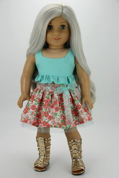 Handmade 18 inch doll clothes - Aqua and coral 3 piece skirt outfit (586) by DolliciousClothes on Etsy