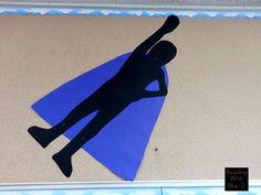 Superhero upper bulletin board decorations.