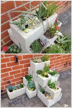 Cinderblock planter by sally tb