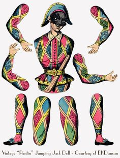 """Harlequin - Antique French """"Pantine"""" Paper Doll - updated by EKDuncan at http://www.ekduncan.com/2012/08/3-more-antique-french-pantine-paper.html#"""