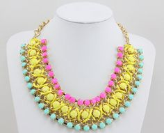 Chunky Necklace, Statement Necklace, Choker Necklace,  Neon Necklace for Women, 2013 New Necklace