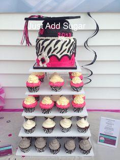 Zebra. Hot pink. Cupcake tower. GrAd
