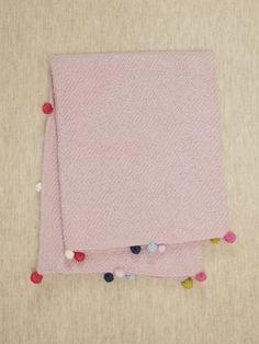 Knit Blanket with pom poms
