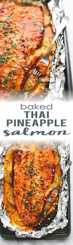 Thai Pineapple Salmon in Foil is a delicious, easy, meal burstin. -Baked Thai Pineapple Salmon in Foil is a delicious, easy, meal burstin. Fish Dinner, Seafood Dinner, Keto Dinner, Seafood Recipes, Dinner Recipes, Cooking Recipes, Crockpot Recipes, Soup Recipes, Chicken Recipes