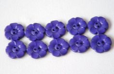 SALE Lot of 10 Flower Buttons  1 Inch royal blue  WAS 4.50