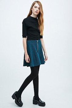 Cooperative by Urban Outfitters Zip-Through Skater Skirt in Teal #midiskirt #offduty #women #covetme #cooperativebyurbanoutfitters #urban #urbanoutfitters #skirt