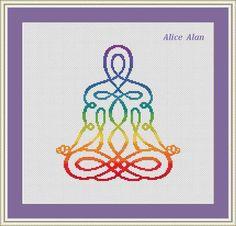 Cross Stitch Pattern Silhouette man Yoga Chakras Rainbow