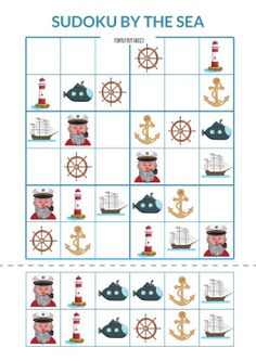 By the sea: Dobble and Sudoku Coding For Kids, Math For Kids, Games For Kids, Educational Activities, Book Activities, Speech Therapy Worksheets, Maila, Cosmetic Shop, Color By Numbers