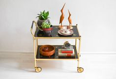 Vintage bar cart, 60s brass bar cart, Mid Century modern bar, brass cart 60s Ref:  by MightyVintage on Etsy https://www.etsy.com/uk/listing/248819876/vintage-bar-cart-60s-brass-bar-cart-mid