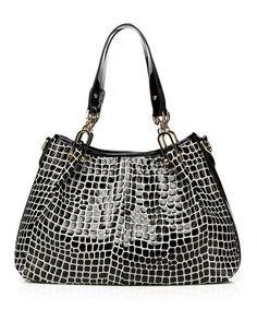 Look at this #zulilyfind! Black& White Juliette Embossed Leather Satchel by Foley & Agamo #zulilyfinds