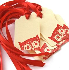 Peek - A - Whoo - Hand Stamped Peeking Owl Gift Tags - Set of 8 - Red and Cream