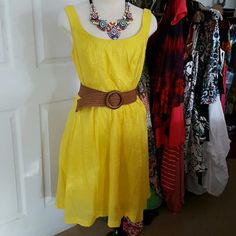 CHEERFUL YELLOW 9 WEST DRESS SIZE 8 This really cute and cool dress was new last summer and I wore it about 5 times. It comes to the knee, has wonderful pockets, and zips up the back. Belt included but necklace is not. It is however for sale... Nine West  Dresses