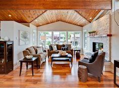 Conceptions salons avec carrelage en bois