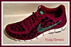 Nike Free 5.0 with Swarovski crystal swoosh Pink and Green